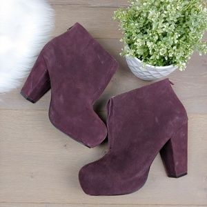 Kelsi Dagger Plum Purple Suede Leather Ankle Boots